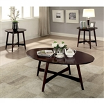 Selah 3 Piece Occasional Table Set in Brown Cherry by Furniture of America - FOA-CM4303-3PK