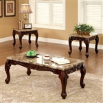 Lechester 3 Piece Occasional Table Set in Dark Oak by Furniture of America - FOA-CM4487-3PK