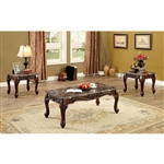 Lechester 3 Piece Occasional Table Set in Brown by Furniture of America - FOA-CM4487BR-3PK