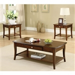 Lincoln Park 3 Piece Occasional Table Set in Dark Oak by Furniture of America - FOA-CM4702-3PK