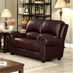 Turton Love Seat in Burgundy by Furniture of America - FOA-CM6191BY-LV