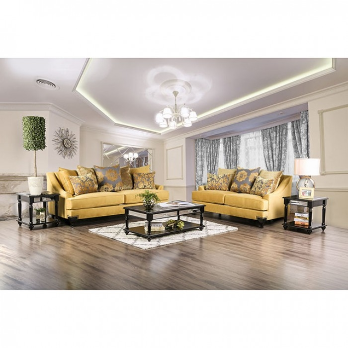 Viscontti 2 Piece Sofa Set In Gold By Furniture Of America Foa Sm2201