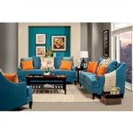 Vincenzo 2 Piece Sofa Set in Peacock Blue by Furniture of America - FOA- SM2203