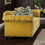 Antoinette Love Seat in Yellow by Furniture of America - FOA-SM223-LV