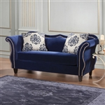 Zaffiro Love Seat in Royal Blue by Furniture of America - FOA-SM2231-LV