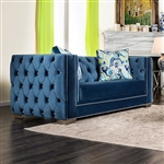 Salvatore Love Seat in Lapis Blue by Furniture of America - FOA-SM2280-LV