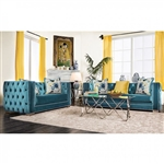 Salvatore 2 Piece Sofa Set in Turquoise by Furniture of America - FOA-SM2282