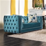 Salvatore Love Seat in Turquoise by Furniture of America - FOA-SM2282-LV