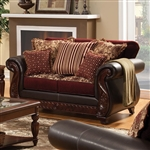 Franklin Love Seat in Burgundy by Furniture of America - FOA-SM6107N-LV