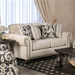 Calloway Love Seat in Ivory by Furniture of America - FOA-SM8111-LV