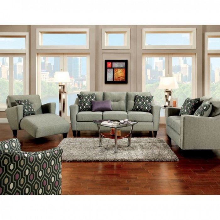 Coltrane 2 Piece Sofa Set In Gray By Furniture Of America Foa Sm8210