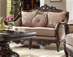Frosinone Sage Chenille Mahogany Finish Loveseat by Homey Design - 09-L