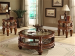 Traditional Cherry Finish 3 Piece Occasional Table Set by Homey Design - HD-1521