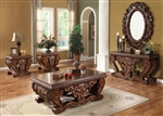 Traditional Hand Curved Cherry Finish 3 Piece Occasional Table Set by Homey Design - HD-1800