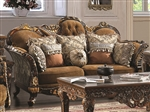 Venice Mixed Fabrics Brown Finish Sofa by Homey Design - 260-S