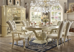 7 Piece Dining Set in Antique White Bonded Leather Finish by Homey Design - HD-27