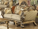 L'Aquila Beige Chenille Fabric, Antiqued Finish Loveseat by Homey Design - 272-L