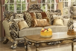 L'Aquila Beige Chenille Fabric, Antiqued Finish Sofa by Homey Design - 272-S