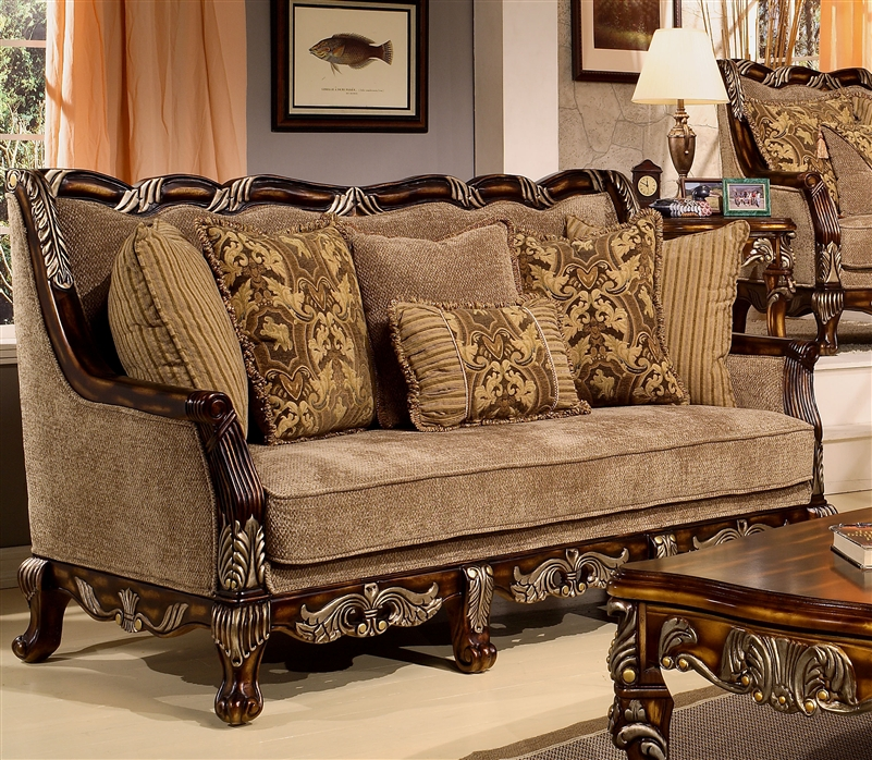 Coria 2 piece living room set by homey design hd 4825 for Traditional wooden sofa set designs