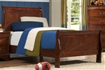 Mayville Twin Sleigh Bed in Burnish Brown Cherry by Home Elegance - HEL-2147T-1