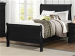 Mayville Twin Sleigh Bed in Burnished Black by Home Elegance - HEL-2147TBK-1
