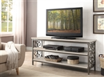 "Fairhope 62"" TV Stand with Faux Marble Top in Off White and Brown by Home Elegance - HEL-35800-T"