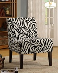 Lifestyle Wild Zebra Fabric Armless Lounge Chair by Homelegance - 468F6S
