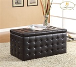 Reynolds Black Bi-Cast Storage Bench with 2 Ottomans by Homelegance - 4720PU