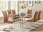 Watt 5 Piece Dining Set in Chrome by Home Elegance - HEL-5178-60-5BRS