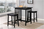 Scottsdale 3 Piece Counter Height Set in Black by Home Elegance - HEL-5310BK