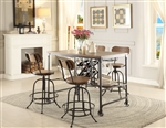 Angstrom 5 Piece Counter Height Dining Set with Wine Rack in Light Oak by Home Elegance - HEL-5429-36-5