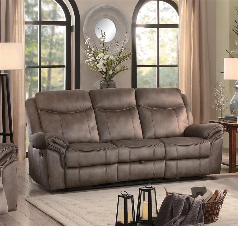Aram Double Reclining Sofa In Brown By Home Elegance Hel