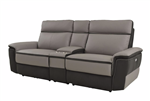Laertes Power Double Reclining Love Seat with Center Console in Taupe by Home Elegance - HEL-8318-2CNPW