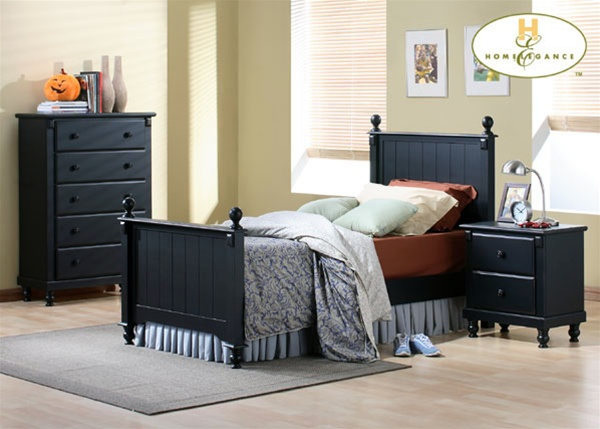 Pottery 4 Piece Twin Panel Bed Youth Bedroom Set in Black Lightly ...