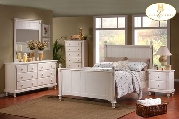 Pottery 6 Piece Panel Bed Bedroom Set in White Lightly Distressed ...