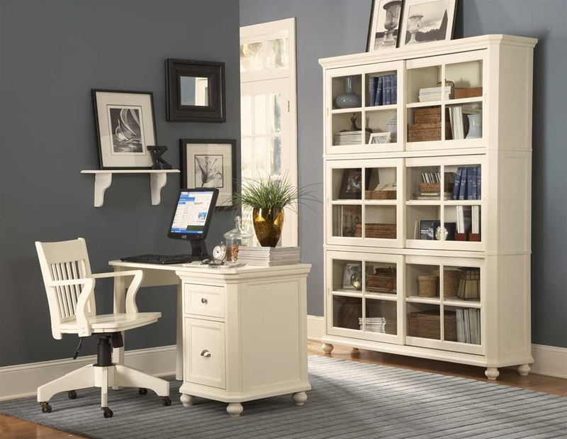 Hanna 4 Piece Desk and Hutch in Black or White Finish by ...