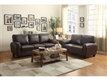Rubin 2 Piece Sofa Set in Dark Brown by Home Elegance - HEL-9734DB
