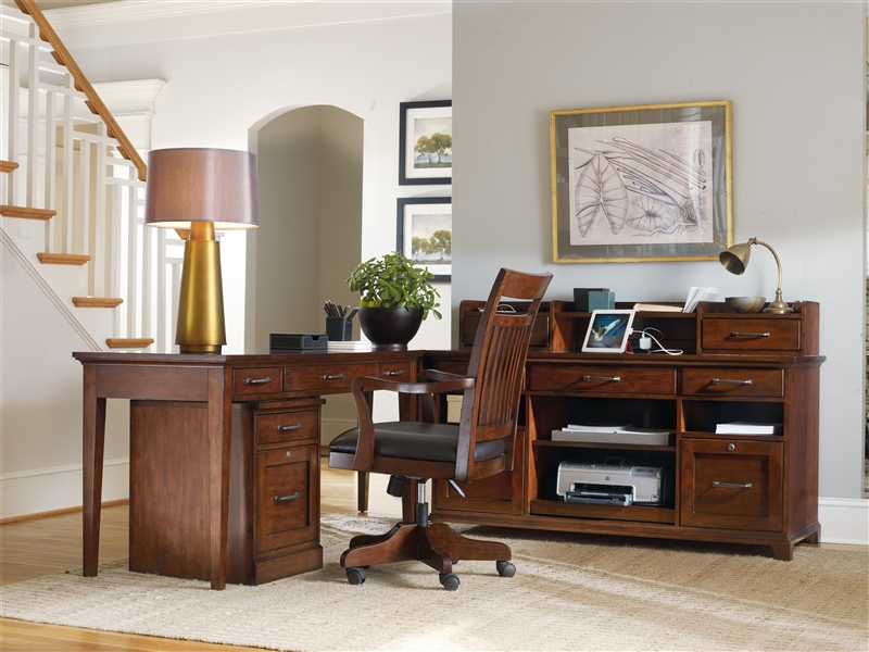 wendover 4 piece corner desk unit in cherry finish by hooker furniture hf103711484 - Hooker Furniture Outlet