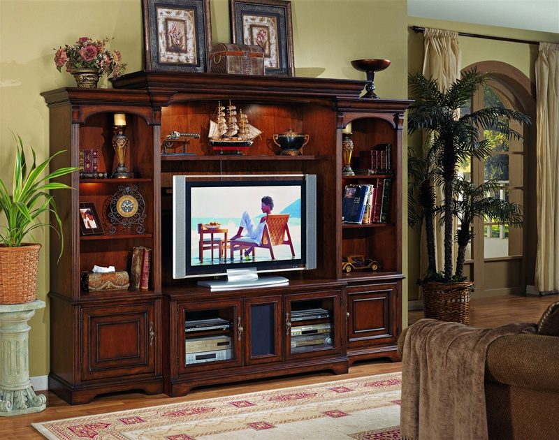Home Entertainment Wall Units brookhaven 55-inch tv home theater wall unit in distressed cherry