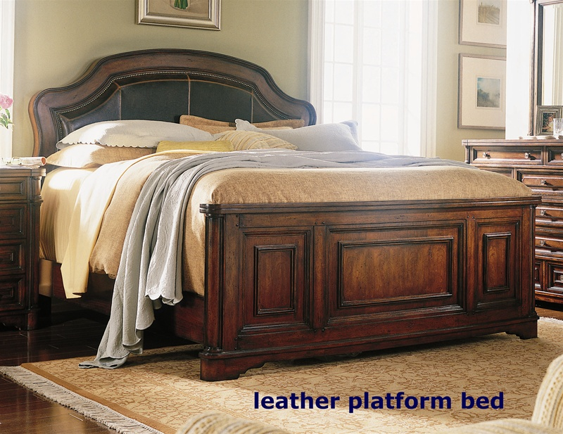 wynterhall leather platform bed 6 piece bedroom set in rich warm brown finish by hooker furniture hf34290210