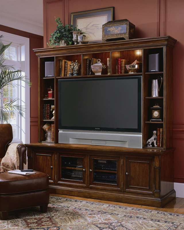 Beacon Square 82 Inch Entertainment Console With Hutch In Distressed Rich  Medium Finish By Hooker Furniture HF 367 55 552