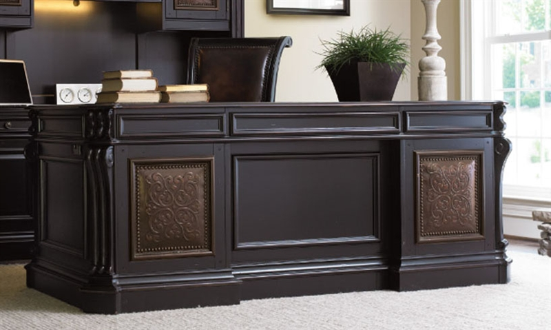Telluride Distressed Black Finish Executive Desk with Leather ...