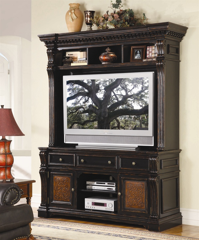 Telluride 71-Inch Entertainment Console with Hutch in Distressed Black  Paint Finish by Hooker Furniture HF-370-55-591 - Telluride 71-Inch Entertainment Console With Hutch In Distressed