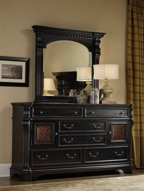 Telluride Six Drawer Dresser In Distressed Black Finish By Hooker Furniture  HF 370 90 002