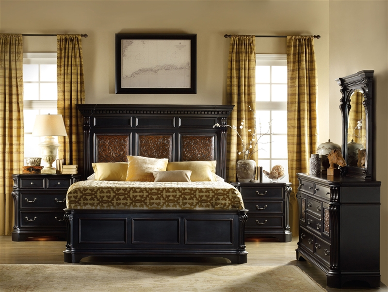 Telluride 6 Piece Bedroom Set In Distressed Black Finish By Furniture Hf 370 90 850 S