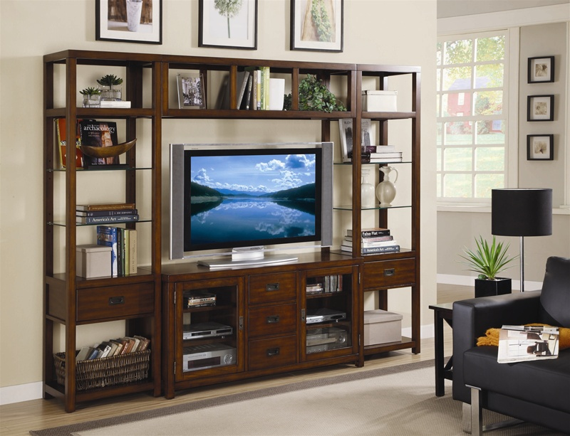 Home Entertainment Wall Units danforth 55-inch tv home theater wall unit in rich medium brown