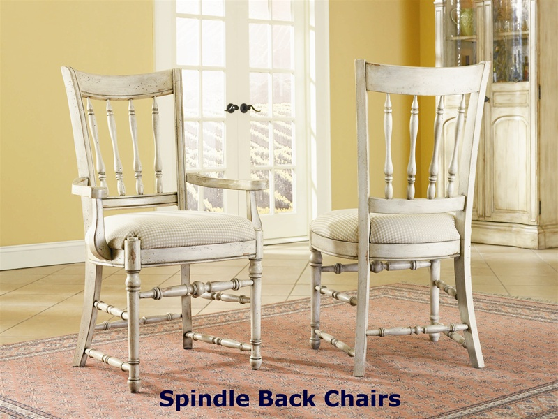 piece round dining table three rung back chairs two tone off white finish hooker furniture hf