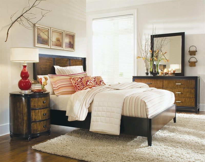 Kinston Shaped Panel Bed 6 Piece Bedroom Set In Black And Brown Two Tone  Finish By Hooker Furniture HF 569 90 250