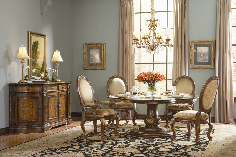 Beladora 5 Piece Round Glass Top Dining Table Set In Caramel Finish With  Gold Tipping Details By Hooker Furniture HF 698 75 201