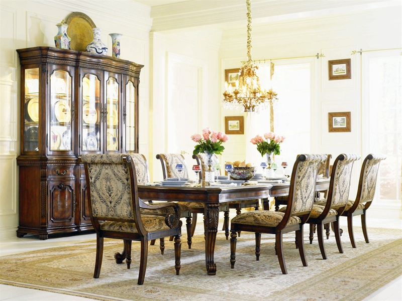 Grandeur 7 Piece Rectangle Leg Dining Table Set In Cherry Ash Burl Finish  By Hooker Furniture HF 733 75 200